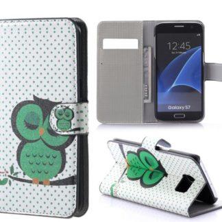 Plånboksfodral Samsung Galaxy S7 – Prickigt med Uggla
