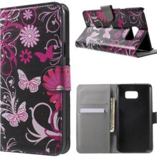 Plånboksfodral Samsung Galaxy S7 Edge - Svart med Fjärilar