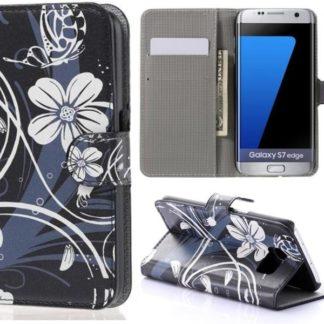 Plånboksfodral Samsung Galaxy S7 Edge – Svart med Blommor