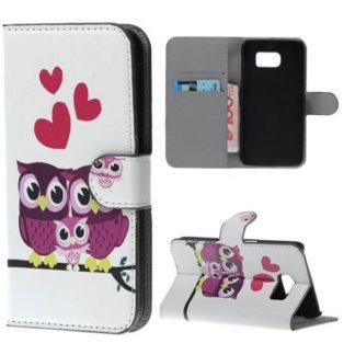 Plånboksfodral Samsung Galaxy S7 Edge – Ugglor & Hjärtan