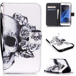 Plånboksfodral Samsung Galaxy S7 Edge – Döskalle / Rosor
