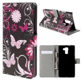 Plånboksfodral Huawei Honor 7 - Svart med Fjärilar