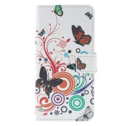 Plånboksfodral Huawei Honor 7 - Vit med Fjärilar