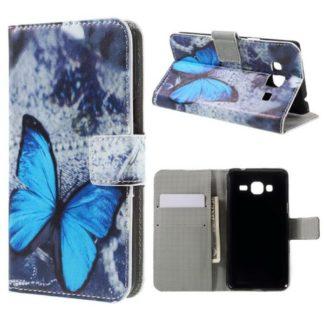 Plånboksfodral Samsung Galaxy J3 (2016) – Blå Fjäril