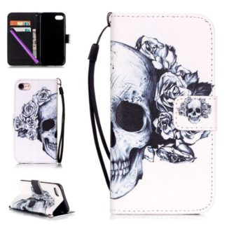 Plånboksfodral Apple iPhone 7 – Döskalle / Rosor