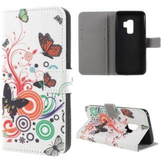 Plånboksfodral Samsung Galaxy S9 Plus - Vit med Fjärilar