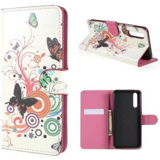 Plånboksfodral Huawei P20 Pro - Vit med Fjärilar