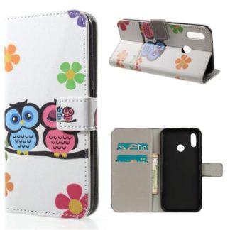 Plånboksfodral Huawei P20 Lite - Ugglor & Blommor