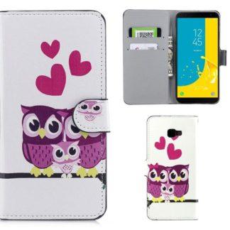 Plånboksfodral Samsung Galaxy J4 Plus - Ugglor & Hjärtan
