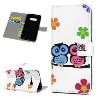 Plånboksfodral Samsung Galaxy S10e - Ugglor & Blommor