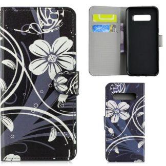Plånboksfodral Samsung Galaxy S10 Plus - Svart med Blommor