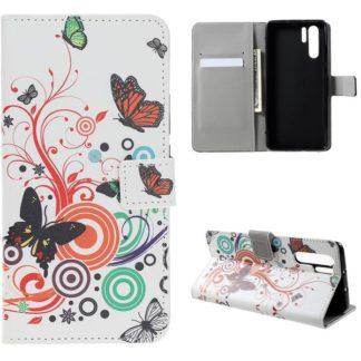 Plånboksfodral Huawei P30 Pro - Vit med Fjärilar
