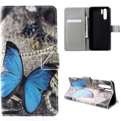 Plånboksfodral Huawei P30 Pro - Blå Fjäril