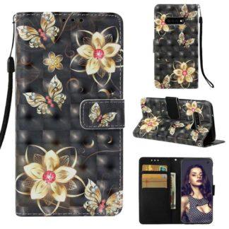 Plånboksfodral Samsung Galaxy S10e – Blommor i Guld