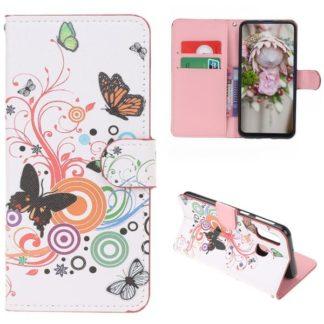 Plånboksfodral Samsung Galaxy A40 - Vit med Fjärilar