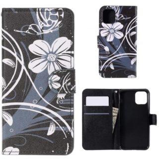 Plånboksfodral Apple iPhone 11 - Svart med Blommor