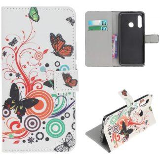 Plånboksfodral Huawei P30 Lite - Vit med Fjärilar