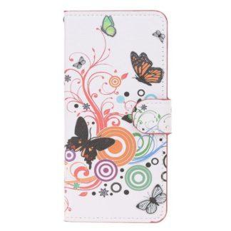 Plånboksfodral Samsung Galaxy A10 - Vit med Fjärilar