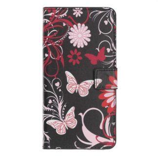 Plånboksfodral Huawei P20 Lite - Svart med Fjärilar
