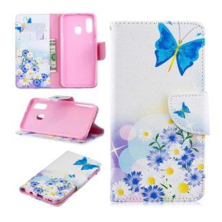 Plånboksfodral Samsung Galaxy A40 – Fjärilar och Blommor