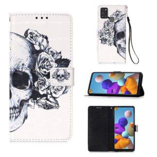 Plånboksfodral Samsung Galaxy A21s – Döskalle / Rosor