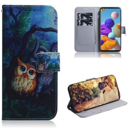 Plånboksfodral Samsung Galaxy A21s – Ugglor I Månsken