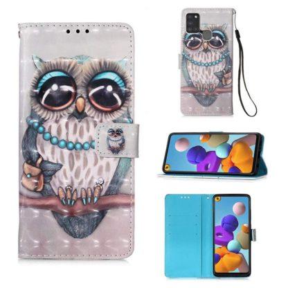 Plånboksfodral Samsung Galaxy A21s – Utsmyckad Uggla
