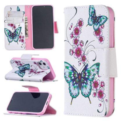 Plånboksfodral Apple iPhone 12 Mini – Fjärilar och Blommor