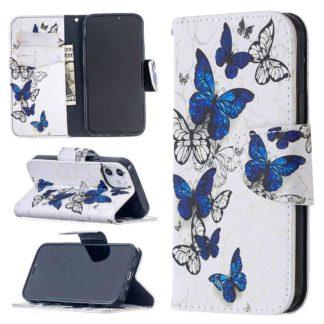 Plånboksfodral Apple iPhone 12 – Blåa och Vita Fjärilar
