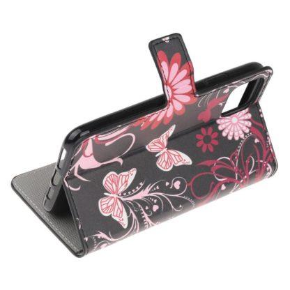 Plånboksfodral Apple iPhone 12 - Svart med Fjärilar