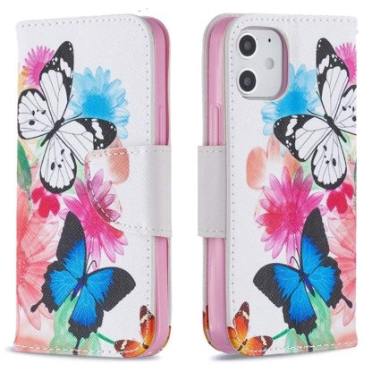 Plånboksfodral Apple iPhone 12 – Färgglada Fjärilar