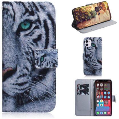 Plånboksfodral Apple iPhone 12 – Vit Tiger