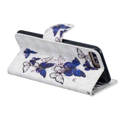 Plånboksfodral Apple iPhone 8 Plus – Blåa och Vita Fjärilar