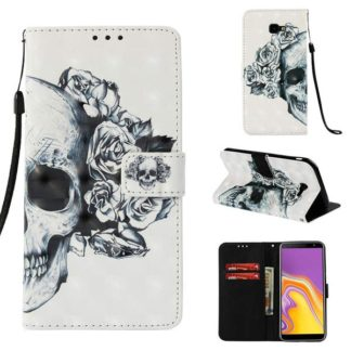 Plånboksfodral Samsung Galaxy J4 Plus – Döskalle / Rosor