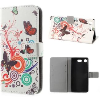 Plånboksfodral Sony Xperia XZ1 Compact - Vit med Fjärilar