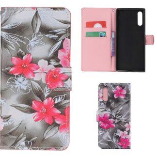 Plånboksfodral Samsung Galaxy A70 - Svartvit med Blommor