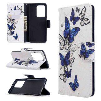 Plånboksfodral Samsung Galaxy S20 Ultra – Blåa och Vita Fjärilar