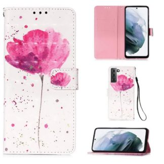 Plånboksfodral Samsung Galaxy S21 – Rosa Blomma