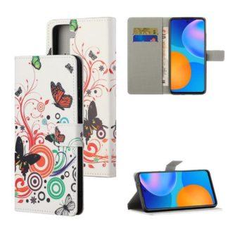Plånboksfodral Samsung Galaxy S21 - Vit med Fjärilar