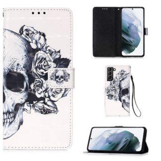 Plånboksfodral Samsung Galaxy S21 – Döskalle / Rosor