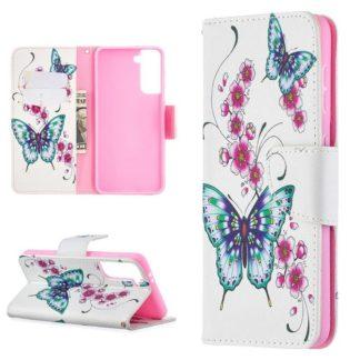 Plånboksfodral Samsung Galaxy S21 – Fjärilar och Blommor