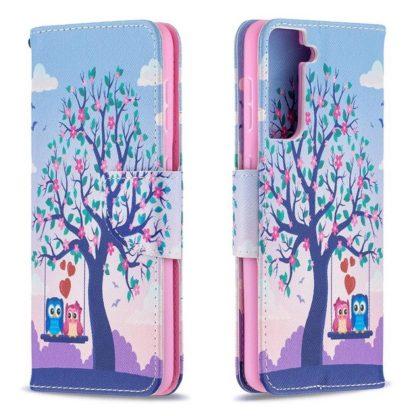 Plånboksfodral Samsung Galaxy S21 – Ugglor på Gunga