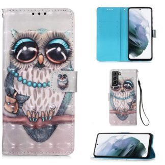 Plånboksfodral Samsung Galaxy S21 Plus – Utsmyckad Uggla