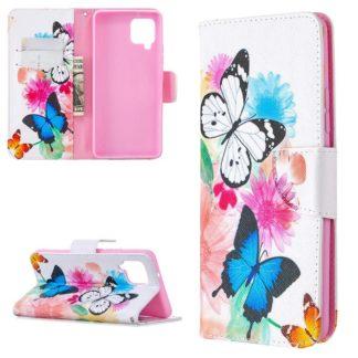Plånboksfodral Samsung Galaxy A12 - Färgglada Fjärilar