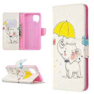 Plånboksfodral Samsung Galaxy A12 - Elefant med Paraply