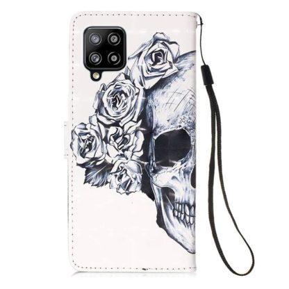 Plånboksfodral Samsung Galaxy A12 - Döskalle / Rosor