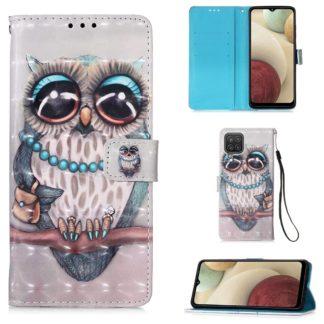 Plånboksfodral Samsung Galaxy A12 - Utsmyckad Uggla