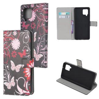 Plånboksfodral Samsung Galaxy A12 - Svart med Fjärilar