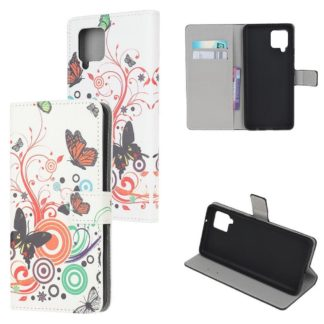 Plånboksfodral Samsung Galaxy A12 - Vit med Fjärilar
