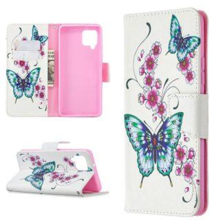 Plånboksfodral Samsung Galaxy A12 - Fjärilar och Blommor